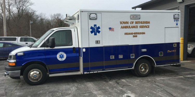 """After five years, DBEMS recently decided it was time to unify its fleet of ambulances. """"We had ambulances in three different colors, said DBEMS Chief Steve Kroll. """"We decided to rebrand in a color that was all our own. Not the red of Delmar or the gold of Bethlehem. We are Delmar-Bethlehem. One agency to serve the whole town. And we picked blue."""" Photo by Steve Kroll"""