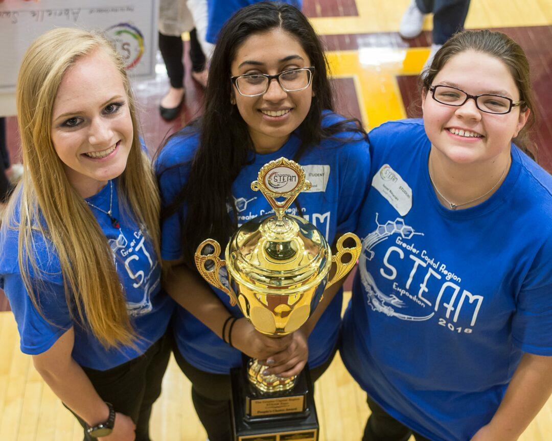 Lindsey Podlaski, Hamia Mahmood and Jonni Nazarian, winners of the People's Choice award at the STEAM expo (Jim Franco/Spotlight News)