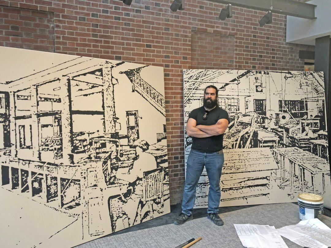 Artist Samson Contompasis brings the past back to life at News Apts. Ali Hibbs /  TheSpot518