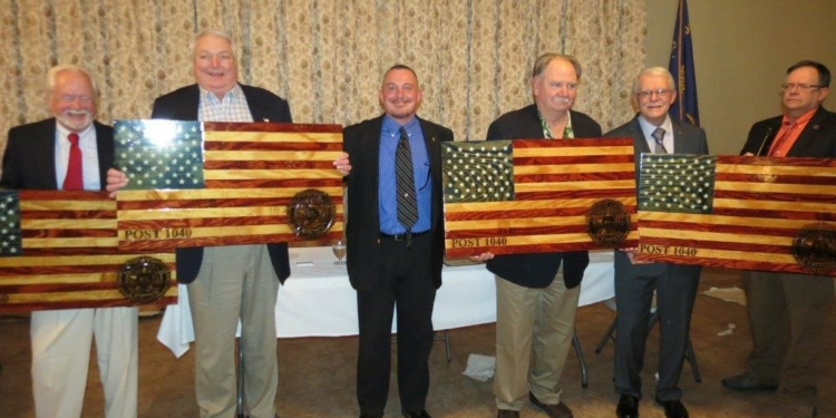 Larry Justice, Phil Giacone, Gerry Decker and Cliff Thompson are honored with the recognition of being Paid Up for Life members at The Nathaniel Adams Blanchard Legion Post #1040 on Sunday, April 29. Photo by Thomas Heffernan, Sr. / Special to Spotlight News