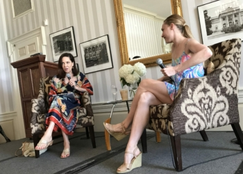 Sara Mearns, right, speaks before SPAC patrons in Q&A. Photo by  Michael Hallisey / TheSpot518