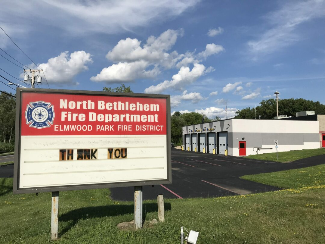 The North Bethlehem Fire Department and Elmwood Park Fire District, hope to replace this 30 year old sign with an oversize, elegant electronic display board.  Michael Hallisey / Spotlight News