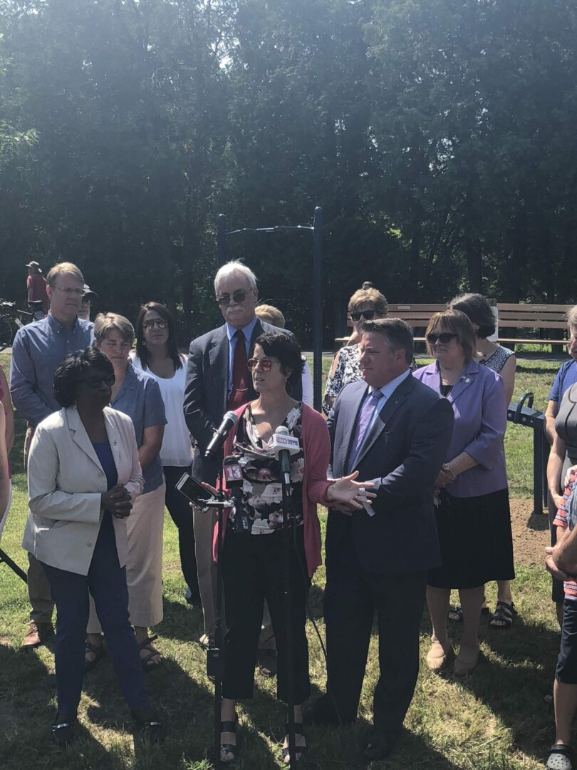 Along with other elected officials, Joanne Cunningham speaks about the new improvements to the rail trail, and upcoming possibilities