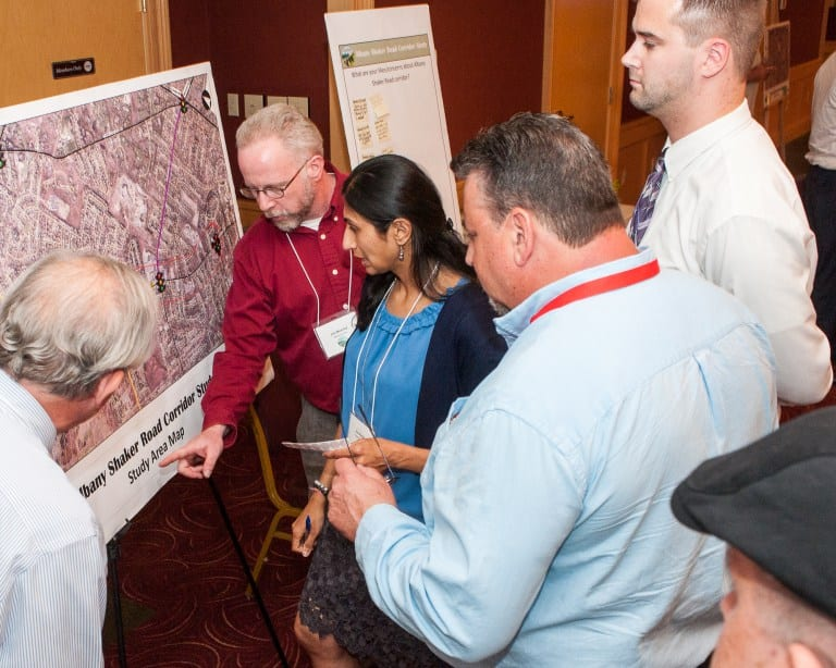 Residents look at a map of the Albany Shaker Road corridor during a public meeting in June, 2017. Jim Franco/Spotlight News
