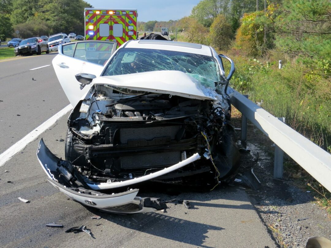 This Kia, above, was traveling westbound on the Delmar Bypass when it was struck head-on by another Kia, whose driver had been traveling the wrong way on the westbound lane. Tom Heffernan Sr. / Spotlight News