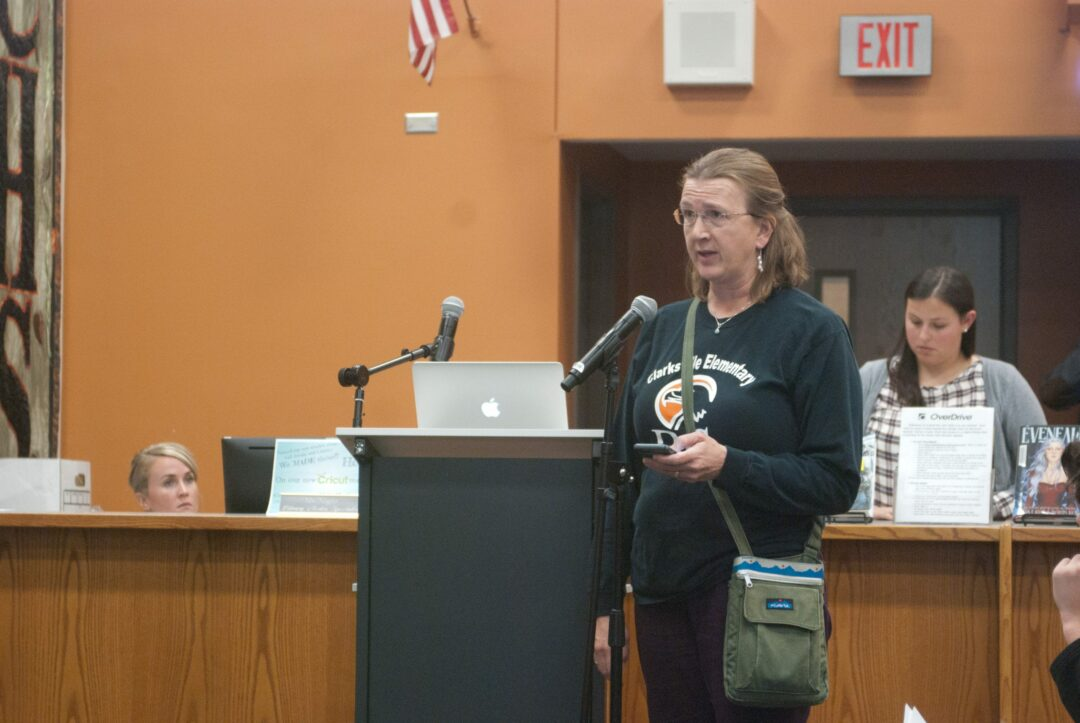 Resident Judy Abbott, above, expressed her disapproval of Clarksville's sale before the Board of Education, but stressed she's not being anti-BCSD or anti-county Sheriff's Office though. Diego Cagara / Spotlight News