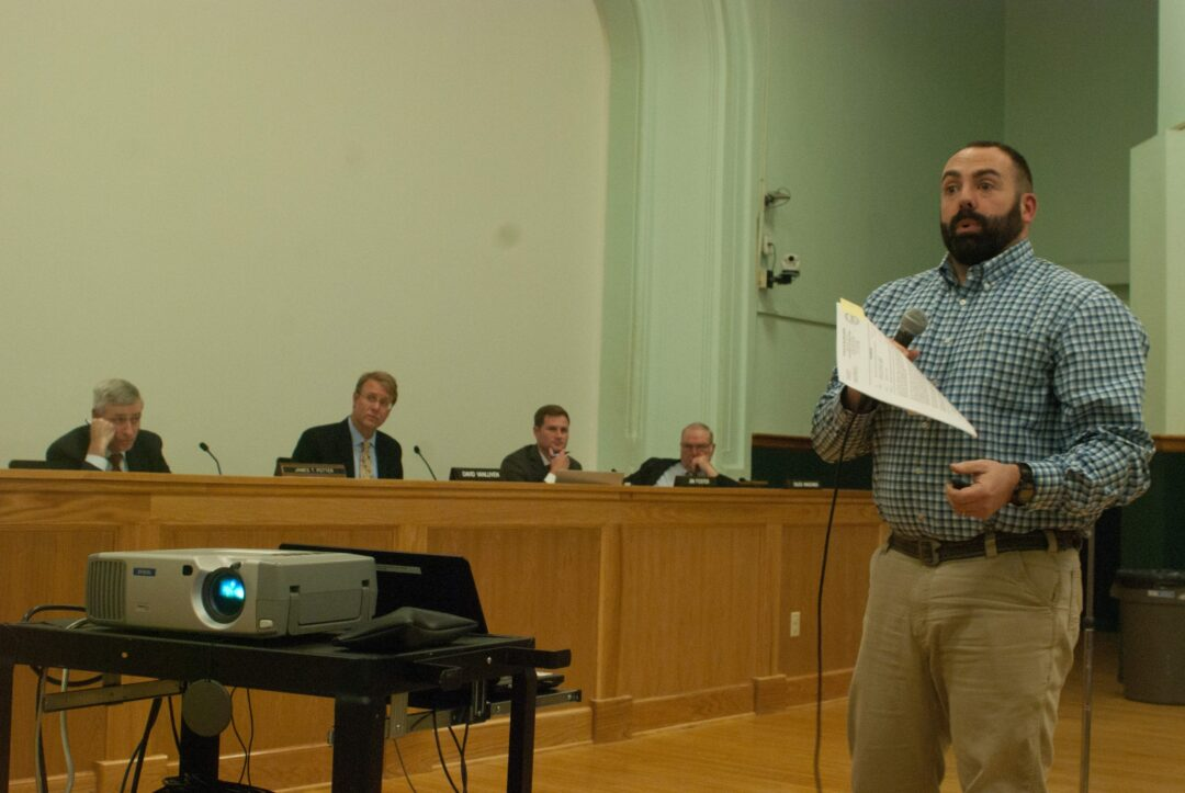 Commissioner of Public Works George Kansas presented the bid numbers to the Town Board. Diego Cagara / Spotlight News
