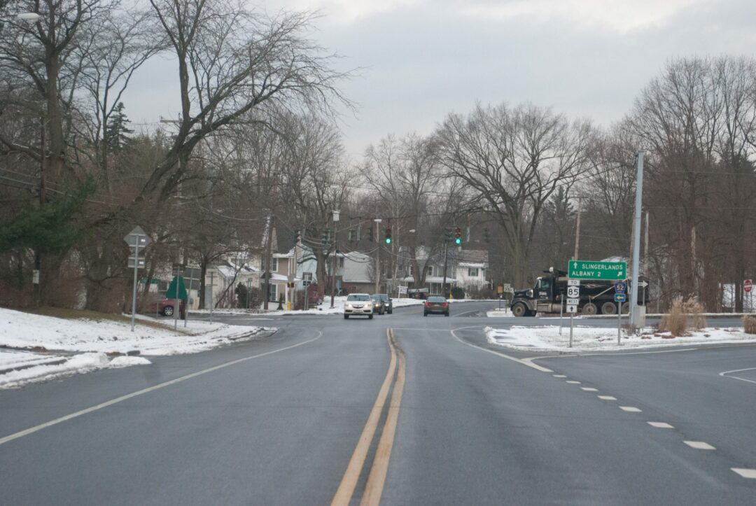 Motorists traveling west on Kenwood Avenue recognize the Cherry Avenue intersection as the threshold into Slingerlands. This intersection, and another where Kenwood crosses with New Scotland Road, will be reviewed by the town for possible changes.  Diego Cagara / Spotlight News
