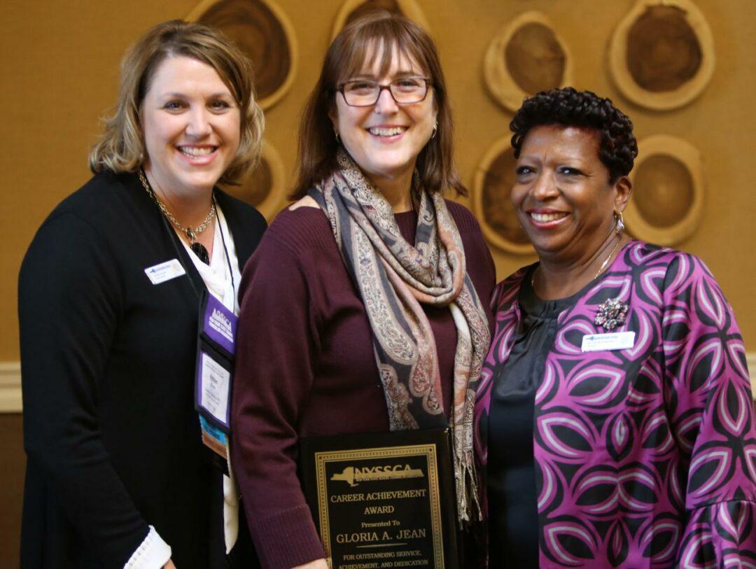Kristen Shearer, NYSSCA past president, left, Gloria A. Jean, and Dr. Gail Reed-Barnett, NYSSCA president. Photo provided