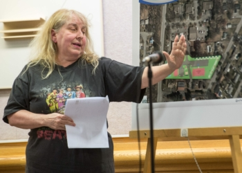 Gilda Leone, a Vly Road resident, speaks at the Tuesday, March  26 Colonie Planning Board meeting. Jim Franco /  Spotlight News