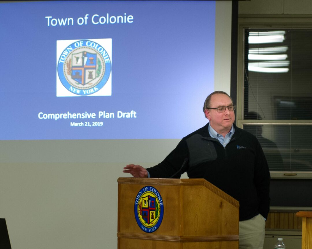 Chuck Voss, an engineer with Barton & Loguidice, gives a presentation to the Colonie Town Board and the public on the Comprehensive Plan.  Jim Franco/Spotlight News