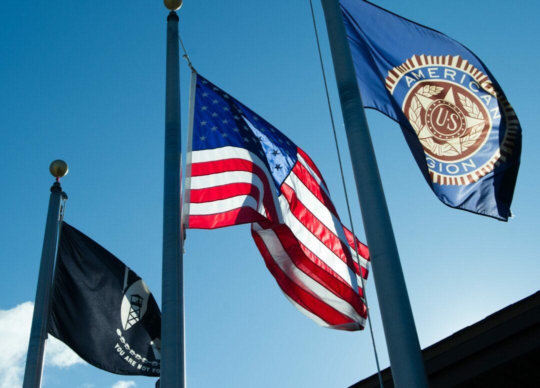 Flags fly at the American Legion Joseph E. Zaloga Post 1520 on Everett Road in Colonie.  Photo by Jim Franco / Spotlight News