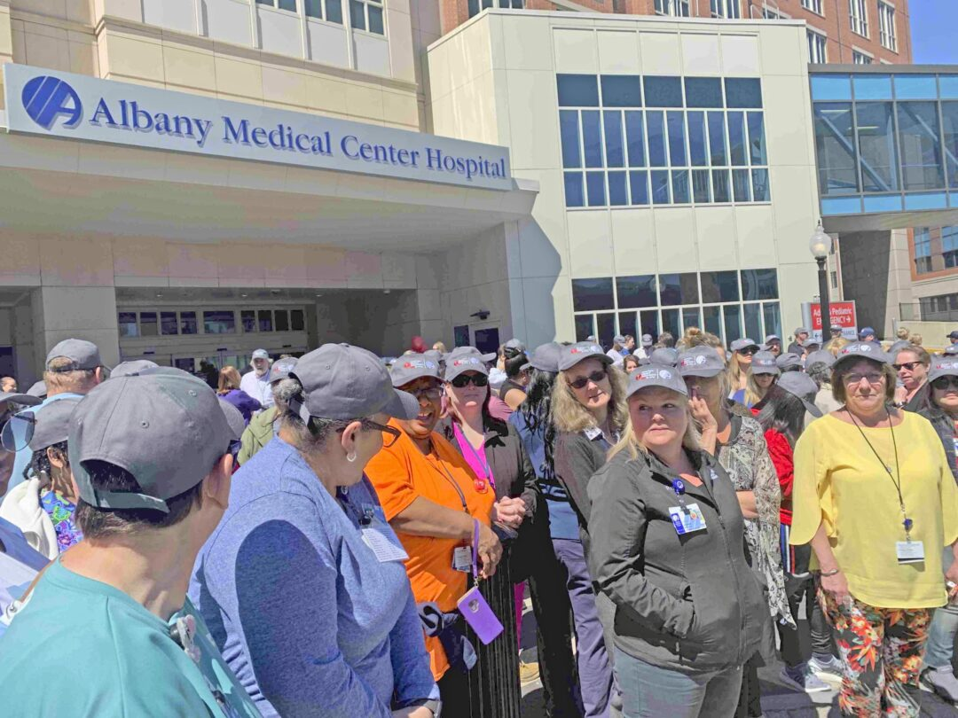 Hundreds of Albany Med staff members walked outside together for 15 minutes. It was a day set aside for heart health awareness. Diego Cagara / Spotlight News