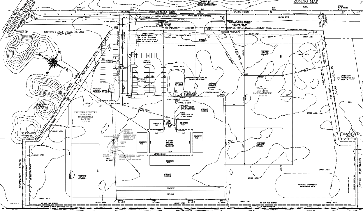 Site plan of proposed Veolia buildings off Morris Road.  Photo via Town of Colonie