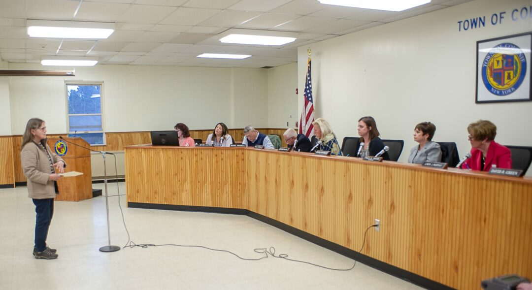 The Town Board hears from a resident during a public hearing on the Comprehensive Plan on Thursday, May 9. Jim Franco / Spotlight News