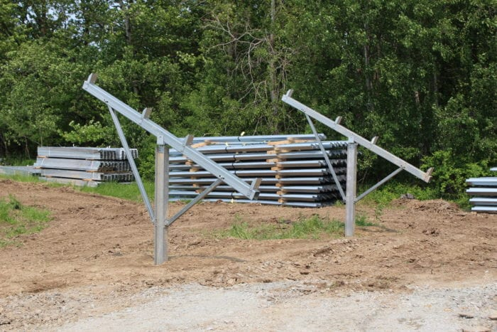 The frame work for the soon-to-be arrival of the solar panels that will be installed at Sugar Hill Farm in Rexford, NY as part of the first ever community solar farm completed by Latham, NY energy distribution company, US Light Energy, on 5/31/2019. Photo by Amy Modesti