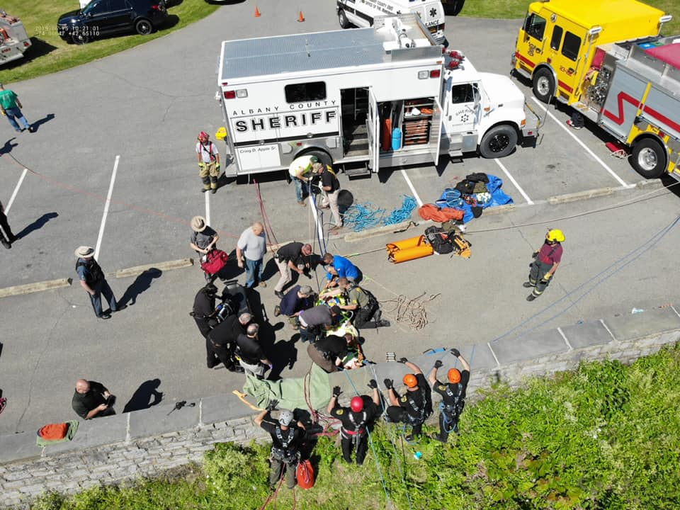 The scene at Thacher Park after the team got the Guilderland teen to safety. (Photo via Albany County Sheriff's Facebook page)