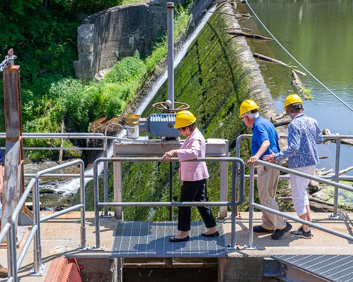 Supervisor Paula Mahan and Town Board members Paul Rosano and Linda Murphy tour the Schuylerville Hydroelectric Plant.   Jim Franco / Spotlight News