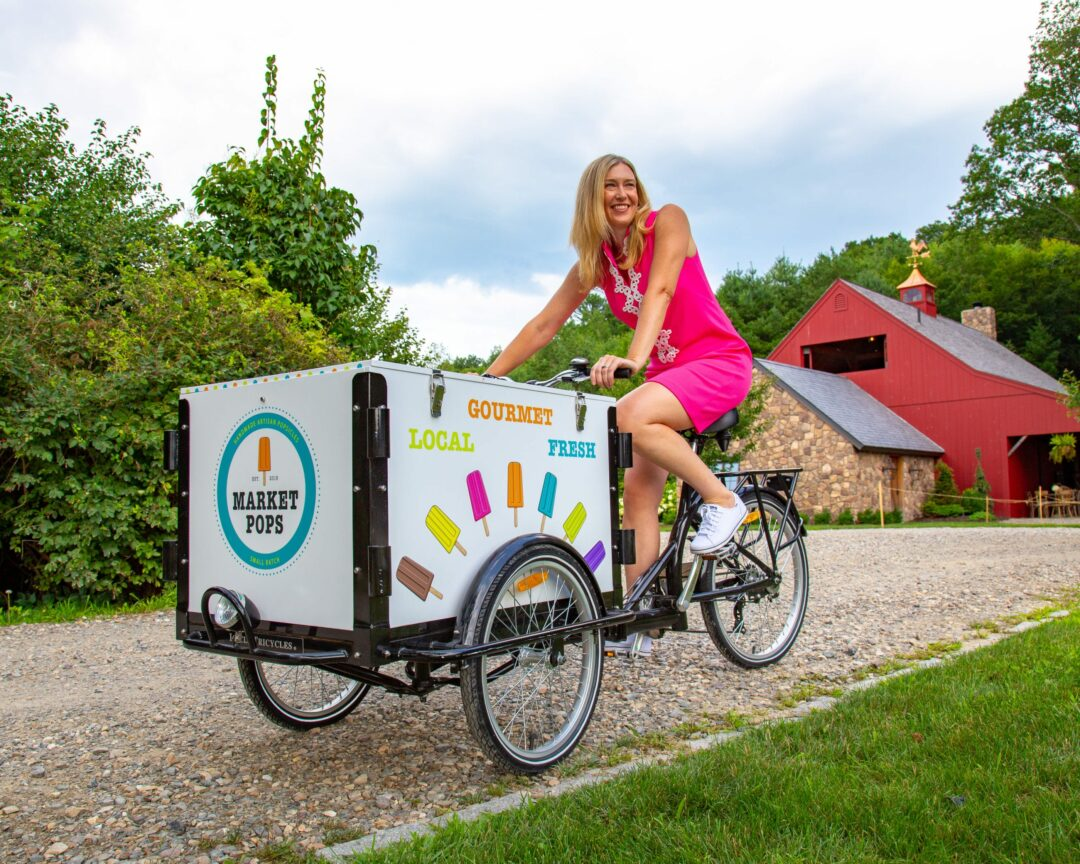 Market Pops founder Heidi Nathanielsz, above, prefers using a mobile Icicle Tricycle to a physical storefront so she can reach out to customers and participate in outdoor markets. Heidi Nathanielsz