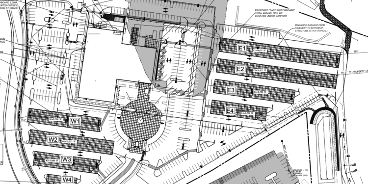 The site plan of Ayco with the solar canopies.