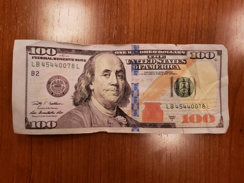 A counterfeit $100 bill confiscated by State Police. Photo via State Police