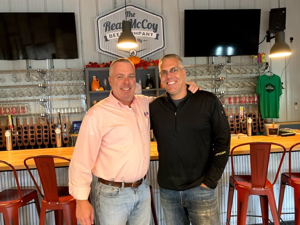 meteorologist Jason Gough, left, and Real McCoy co-owner Mike Bellini, right, want to raise money, awareness of breast cancer with a fundraiser on Oct. 12. Diego Cagara / Spotlight News