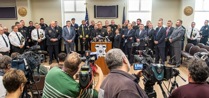 """Law enforcement officials from across the state held a press conference at the Albany County Judicial Center to decry """"bail reform"""" that is set to go in effect on Jan. 1, 2020. Jim Franco / Spotlight News"""