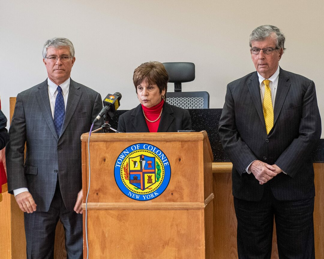 Town Supervisor Paula Mahan is flanked by Assemblyman Phil Steck to her right and state Sen. Neil Breslin to her left during a press conference announcing funding for a new mobile command center.   Jim Franco/Spotlight News