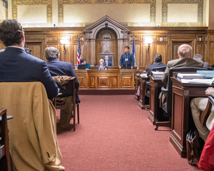 A man speaks against the ban of flavored tobacco at a meeting of the Albany County Legislature on Tuesday, Nov. 12 (Jim Franco/Spotlight News)