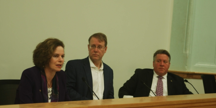L-R: State Assemblywoman Patricia Fahy, Bethlehem Town Supervisor David VanLuven and Albany County Executive Dan McCoy noted accomplishes and challanges  the state, town and county have faced. Diego Cagara / Spotlight News