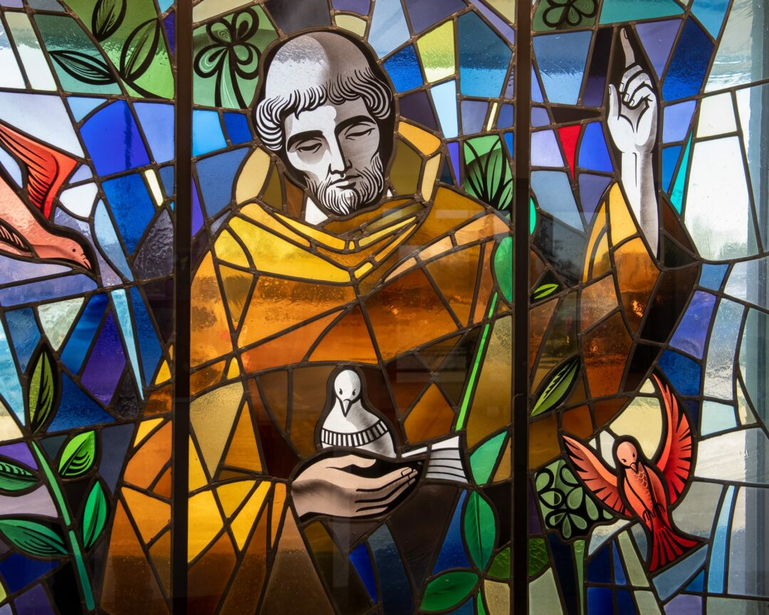 A stained glass window at St. Francis Chapel in Colonie (Jim Franco/Spotlight News)