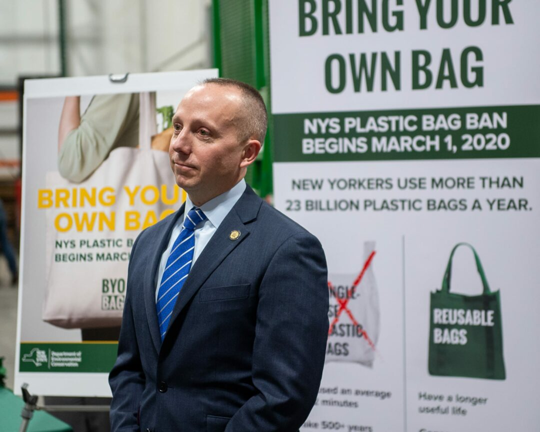 State Department of Environmental Conservation Commissioner Basil Seggos at the Regional Food Bank in Colonie. Jim Franco/Spotlight News