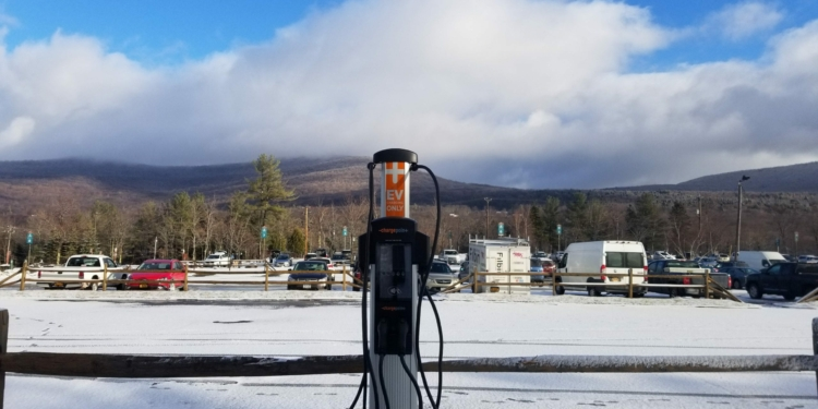 The five potential electric vehicle charging stations that the public can use once they are installed at three lots on Bethlehem town property will look like the one above. Photo by Christopher Carmody