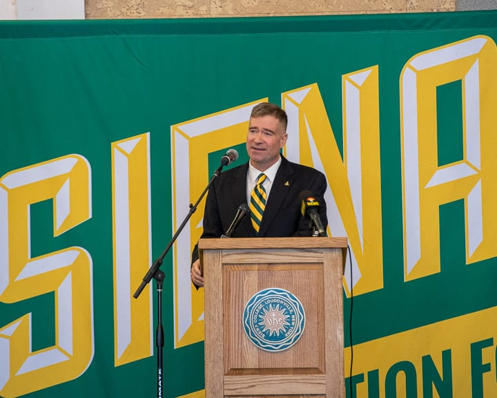 Chris Gibson is introduced as the new president of Siena College on Friday, Feb. 14.   Jim Franco / Spotlight News
