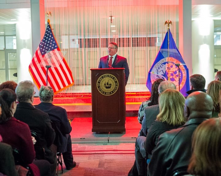 County Executive Dan McCoy gives his ninth State of the County address in the Times Union Center atrium on Thursday, Feb. 13. Jim Franco / Spotlight News