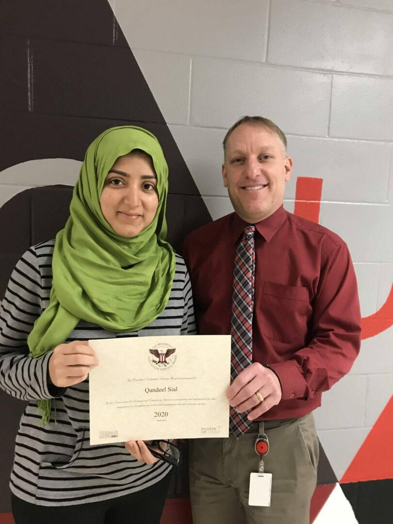 Qandeel Sial, a Guilderland High School senior was presented with the award by Principal Mike Piscitelli. Provided photo