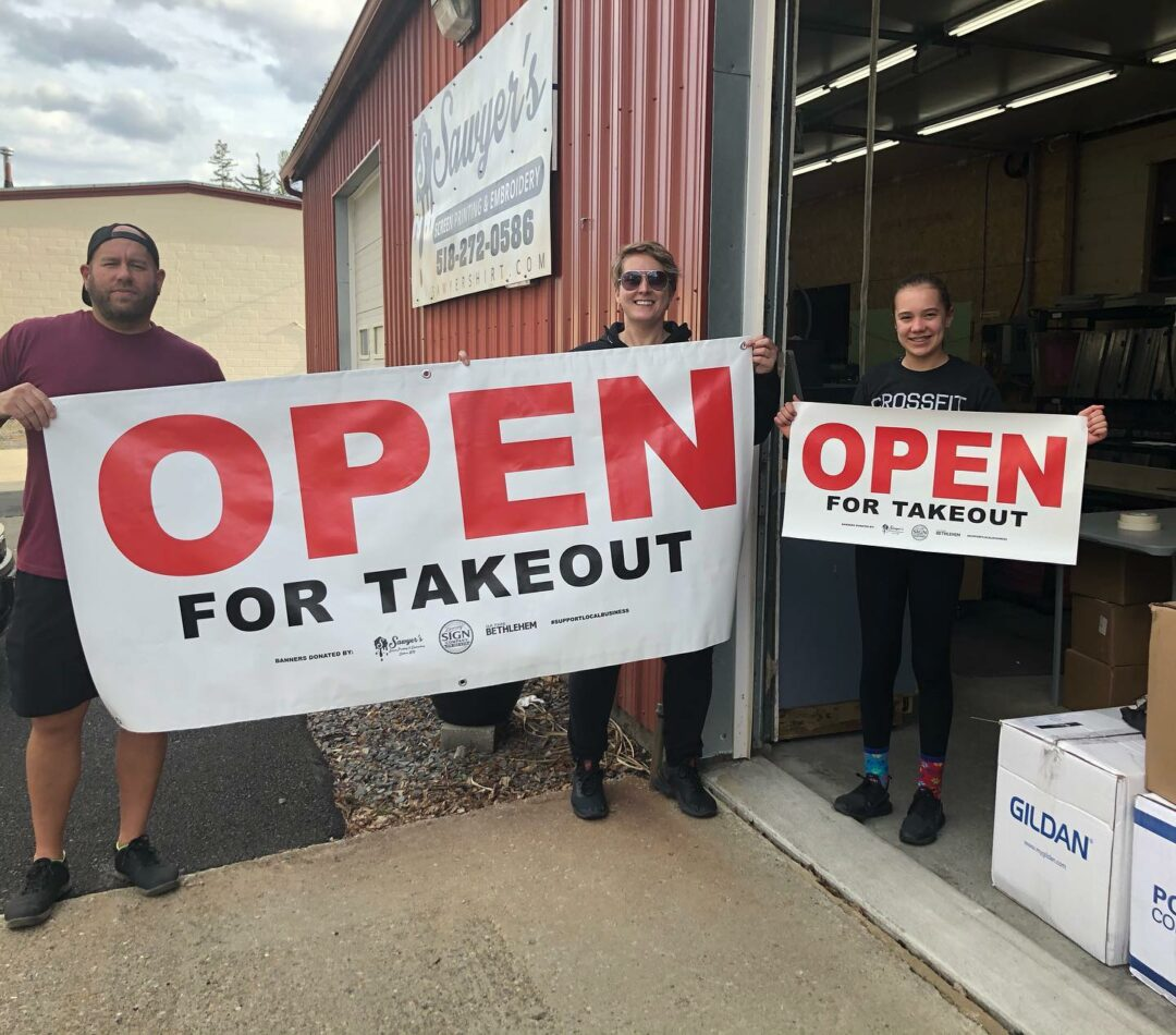 The banners that Dorsey Sign Company and Sawyer's Screen Printing & Embroidery made and distributed help inform residents that businesses can still be safely patronized.  Provided photo