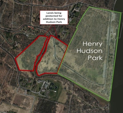 Town staff are waiting to hold a ribbon-cutting ceremony once the COVID-19 pandemic declines in order to close on the two land purchases, shown in red, which will expand Henry Hudson Park by 21 acres. Provided photo