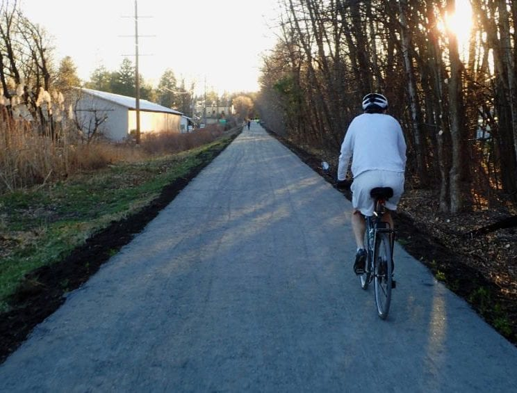 Bethlehem Town Supervisor David VanLuven and Mary Rozak, Albany County's communications director, encouraged people to wear masks and continue social distancing even when on the Albany County Rail Trail (above, pictured last fall). Spotlight file photo