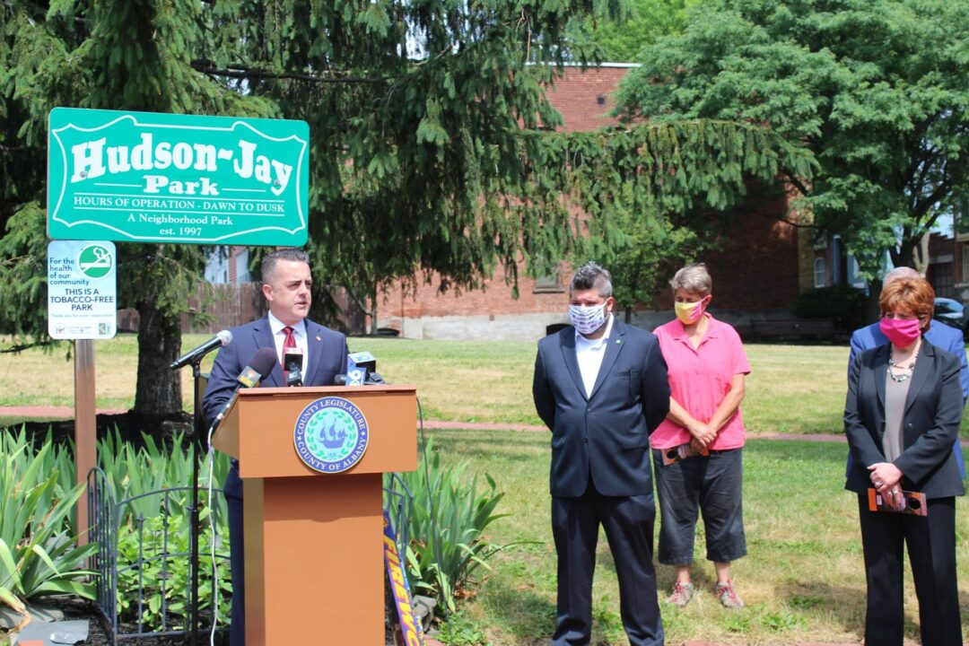 Chairman of the Albany County Legislature Andrew Joyce speaks about banning fireworks (Photo provided)