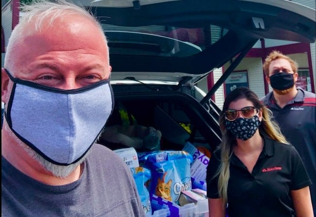 Glenmont State Farm agent James Leone, left, and his colleagues preparing to donate to the Mohawk Hudson Humane Society to stress importance of animal welfare amid the COVID-19 pandemic. Provided photo