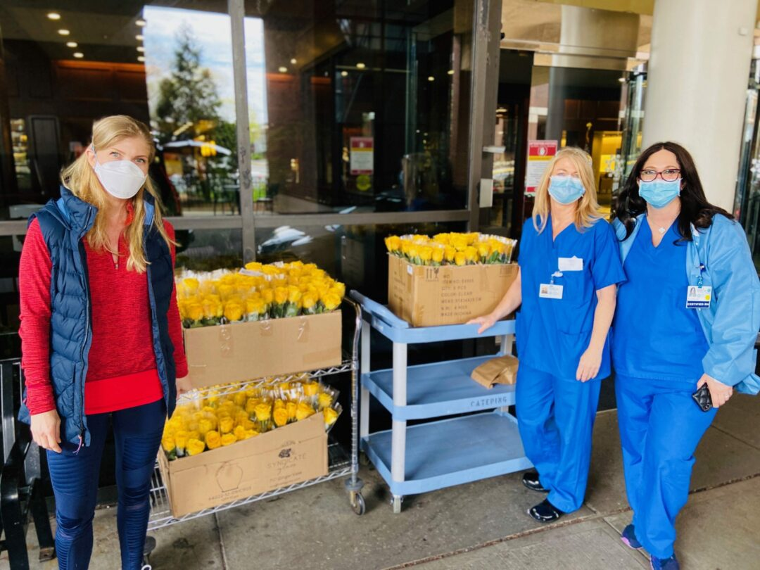 New Jersey former nurse Amy O'Hara, left, said she does not intend to to stop delivering roses to COVID-19 patients anytime soon; she hopes they can brighten patients' days who feel lonely or isolated. Provided photo