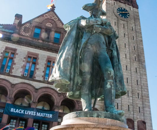 A statue of Philip Schuyler has stood in front of Albany's City Hall since 1925. Last week, Mayor Kathy Sheehan ordered to have it removed.   Photos by Michael Hallisey /The Spot 518