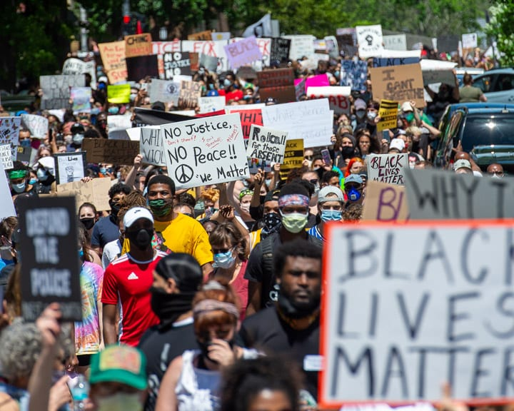 Protesters walk form Townsend Park through Washington Park in Albany, New York on Saturday, May 30, 2020. It was one of many protests across the nation calling for justice in the death of George Floyd at the hands of Minneapolis police officers and other black people who suffered the same fate (Jim Franco/Spotlight News.)