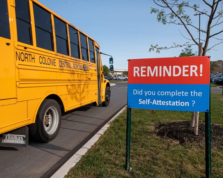 A sign outside the Shaker High School campus on the first day of school, Sept. 14. (Jim Franco/Spotlight News)