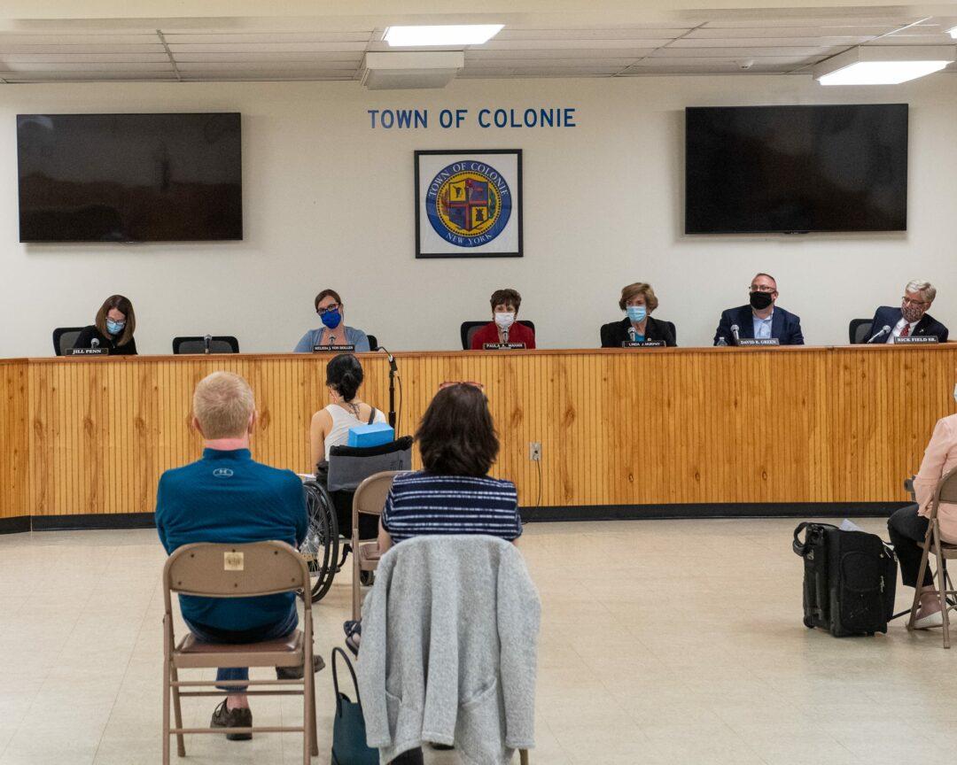 The Colonie Town Board listens to Sonya Rio-Glick speak on Thursday, Aug. 27. Jim Franco/Spotlight News