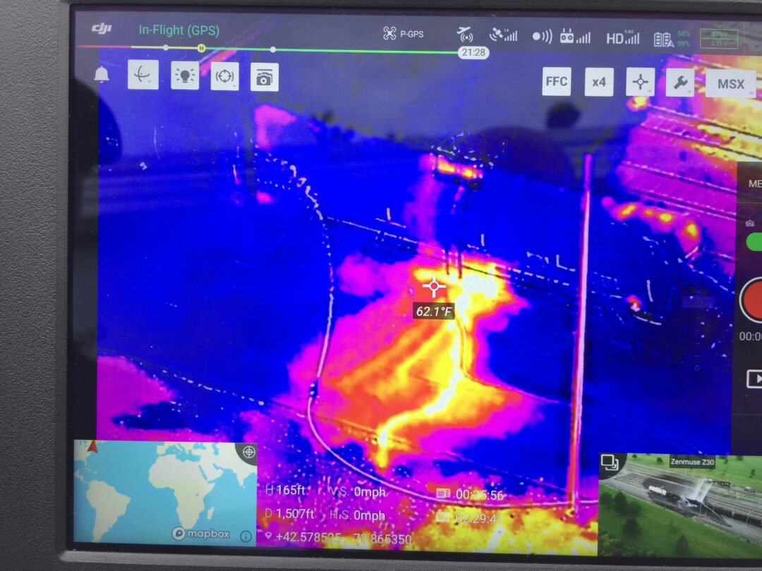 A thermal image from Albany County Sheriff Craig Apple shows heated water coming out of the cooling jacket on a tanker car responsible for releasing Styrene at the SABIC plastics plant in Selkirk. Photo by Albany County Sheriff Craig Apple