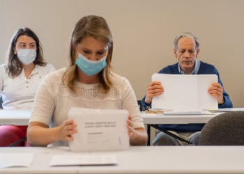 Matt Clyne seen without a mask during count of absentee ballots in July. Jim Franco /  Spotlight News