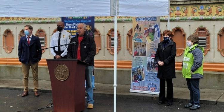 Image cutline: PAL Executive Director, Sgt. (Ret.) Lenoard Ricchiuti, center, announces the 24th Annual Price Chopper/Market 32 Capital Holiday Lights in the Park, and is joined by, (L. to R.) Chad O'Hara, Program Director at B95.5FM, Chief Eric Hawkins of the Albany Police Department, Albany City Mayor Kathy Sheehan, and Mona Golub from Price Chopper/Market 32.Provided photo