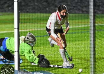 Guilderland's Sophia Sericolo scores the winning goal in a sudden death shootout (JIm Franco/Spotlight News)